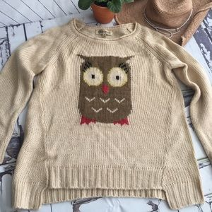 Democracy Tan Owl Sweater In Size M